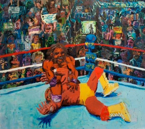 Wrestlemania, oil on canvas, 84