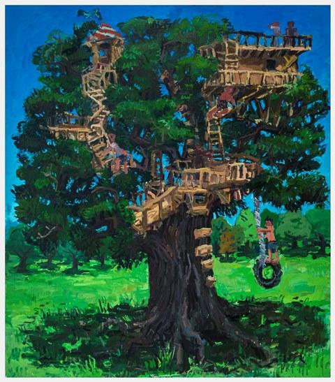 Treehouse, oil on canvas, 96