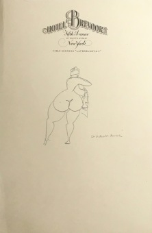 Nude, Rear View, c. 1927-31, graphite on Hotel Brevoort stationary, 9 3-16 X 6 1-16 in