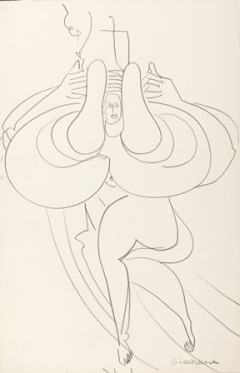 "Dancing Nude, c. 1932-35, 16 3/4"" x 10 7/8"", pencil on paper"
