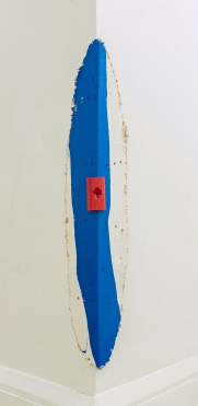 Rosie Lopeman, Sign and Navel, house paint, acrylic, plaster, burlap, mat board, 41 x 9 inches, 2016