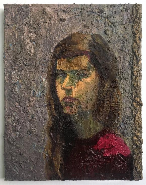 Self Portrait in Alizarin 22.5x17.5